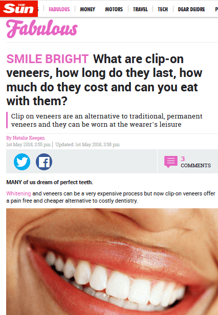 Clip-in Veneers reviewed in The Sun by Natalie Keegan